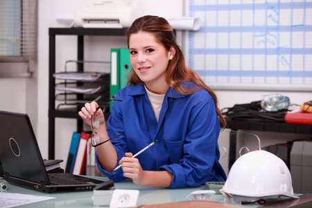 male dominated: Construction worker ordering parts