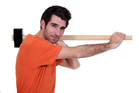 craftsman holding a hammer on his shoulder Stock Photo - 15072480