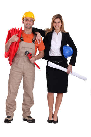 protective workwear: Architect with electrician Stock Photo