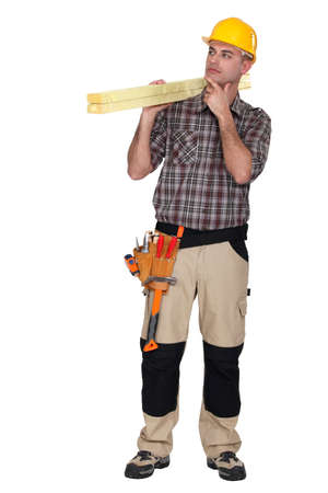 speculating: Construction worker wondering what to do