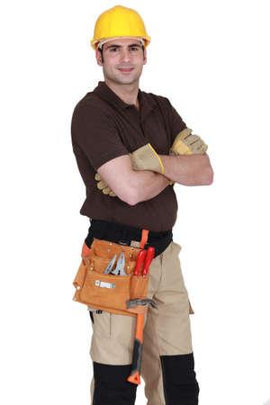 journeyman technician: An handyman posing Stock Photo
