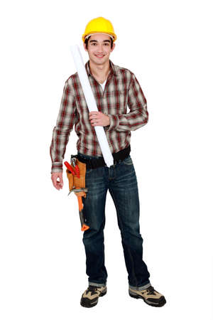 Young foreman with plans Stock Photo - 15095683