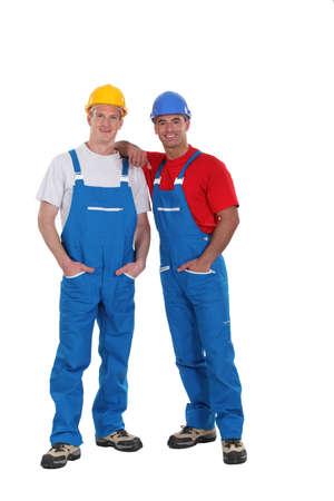stop gesture: Couple of workers