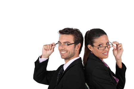 far sighted: Business couple wearing glasses