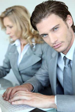 man 40 50: Businessman and woman Stock Photo