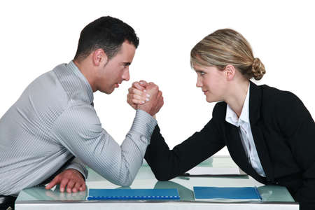 lose balance: Executive arm wrestling  Stock Photo
