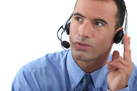30 to 35: Man wearing a headset