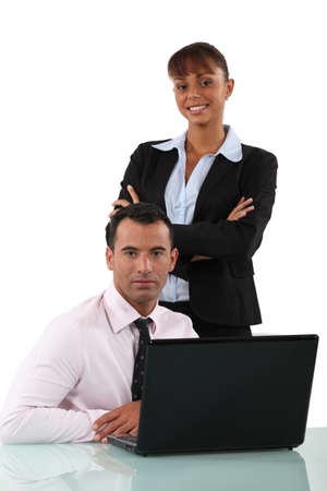 straight faced: A team of business professionals