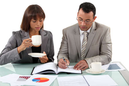 executive affable: Workers having coffee Stock Photo
