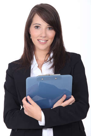 applicant: Young woman with notepad on white background Stock Photo