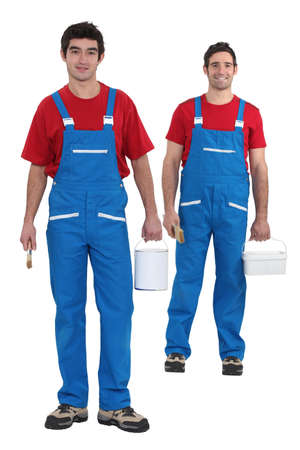 Painters with blue overalls and red-shirt Stock Photo - 15118691