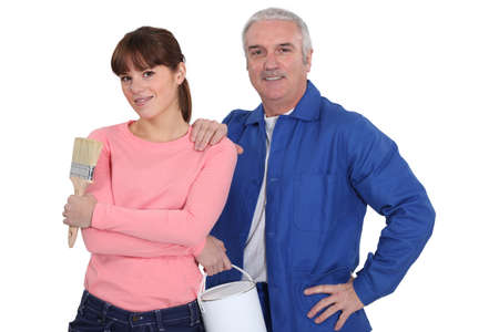 Man and woman ready for painting photo