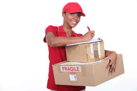 filling out: Woman making a delivery