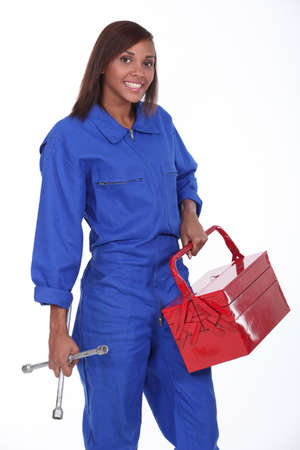 jumpsuite: black female mechanician Stock Photo