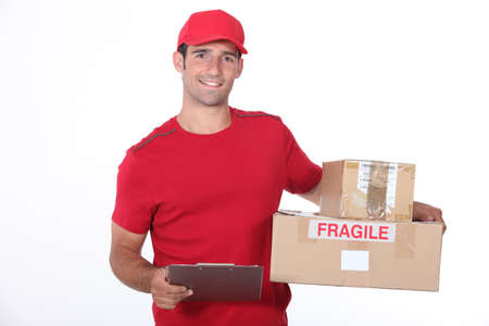 courier delivery: Delivery man on white background