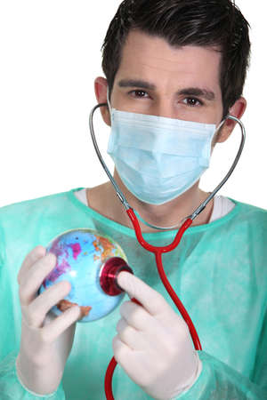 General practitioner with globe photo