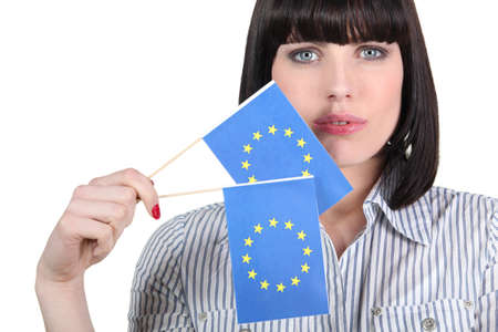 unification: Pretty woman with European Union flags