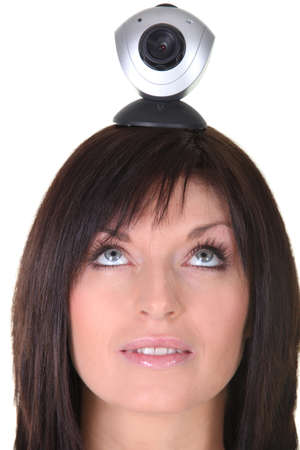big brother spy: Woman with a webcam balanced on her head