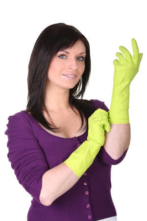 housewife gloves: Woman wearing rubber gloves
