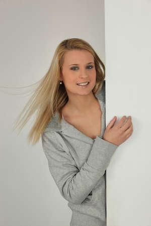 blonde  blue eyes: blonde woman portrait Stock Photo