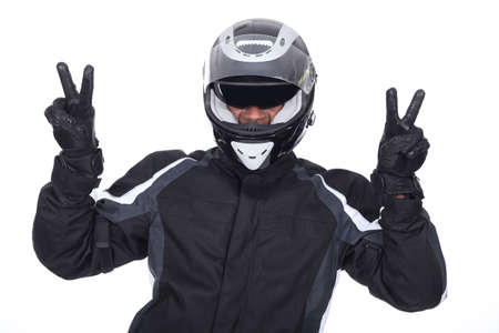 undisciplined: biker doing victory sign