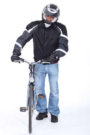 cautious: very  cautious biker