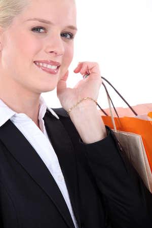 spendthrift: shopping addict Stock Photo