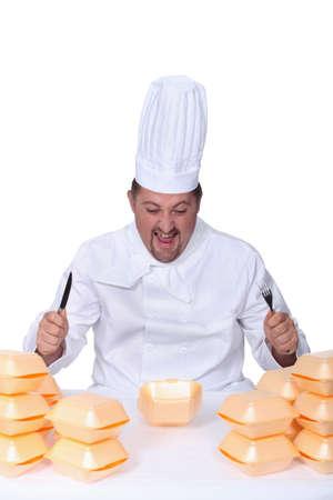 devouring: chef devouring hamburgers