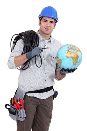 Electrician wiring the world Stock Photo - 15175527