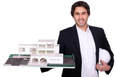 Architect met model Stockfoto
