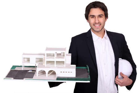 seller: Architect with model Stock Photo