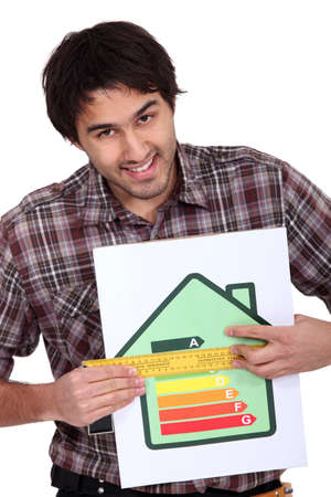 abcd: man holding abcd image house