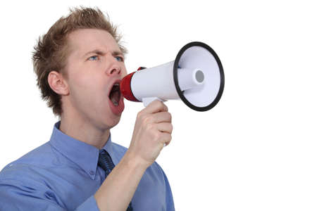 exclaim: Man yelling into a megaphone