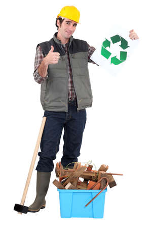 Manual worker recycling photo