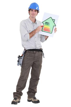 energysaving: Man explaining energy-saving