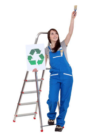 Painter with recycling sign photo