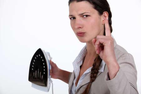 disapproving: Donna che agita il dito in segno di disapprovazione Archivio Fotografico