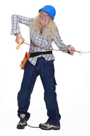 electric current: A woman being electrocuted Stock Photo