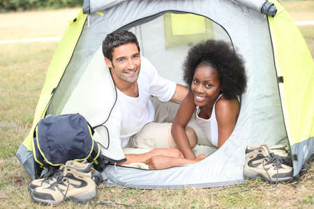 fro: Couple in their tent Stock Photo