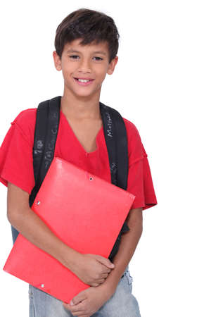 8 10 years: Young boy ready for school Stock Photo