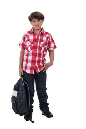 non uniform: Schoolboy in a check shirt