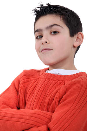 arrogant: A self-assured boy Stock Photo