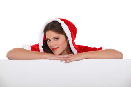 velvet dress: Woman with Christmas layer Stock Photo