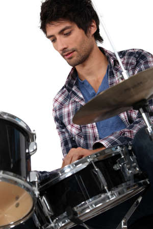 drums: portrait of a man playing drums