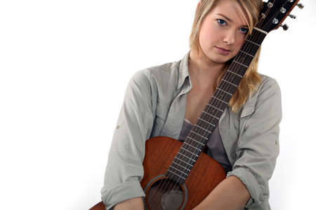 Woman beat guitar: Teenager with guitar Kho ảnh
