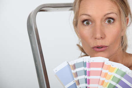 color chart: woman with color chart