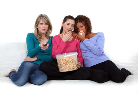 disconsolate: Girls watching a sad film