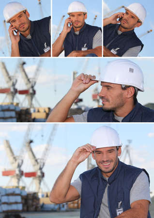 Images of a man working on an oil rig photo