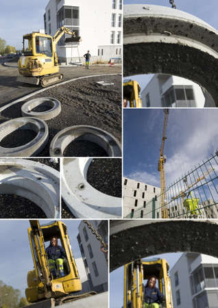 Montage of construction site photo