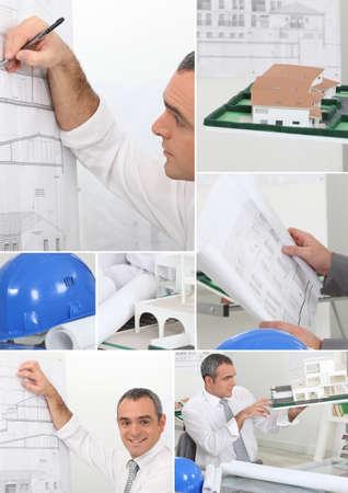 Montage Des Architekten Zeichnung Pläne Neues Projekt Lizenzfreie ...